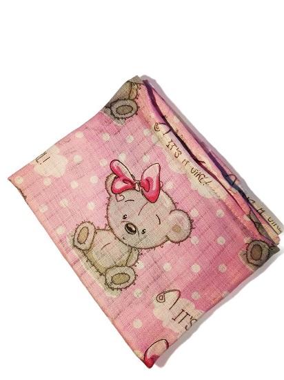 Bawełniana pieluszka tetrowa w misie, ATK, różowa